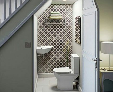 bathroom under stairs