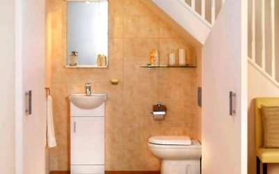 small toilet conversion under stairs