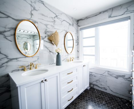 white and grey bathroom remodel